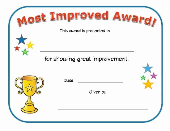 Most Improved Certificate Wording Fresh Most Improved Award Certificate