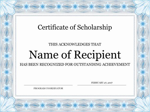 Most Improved Certificate Wording New Certificate Of Scholarship formal Blue Border