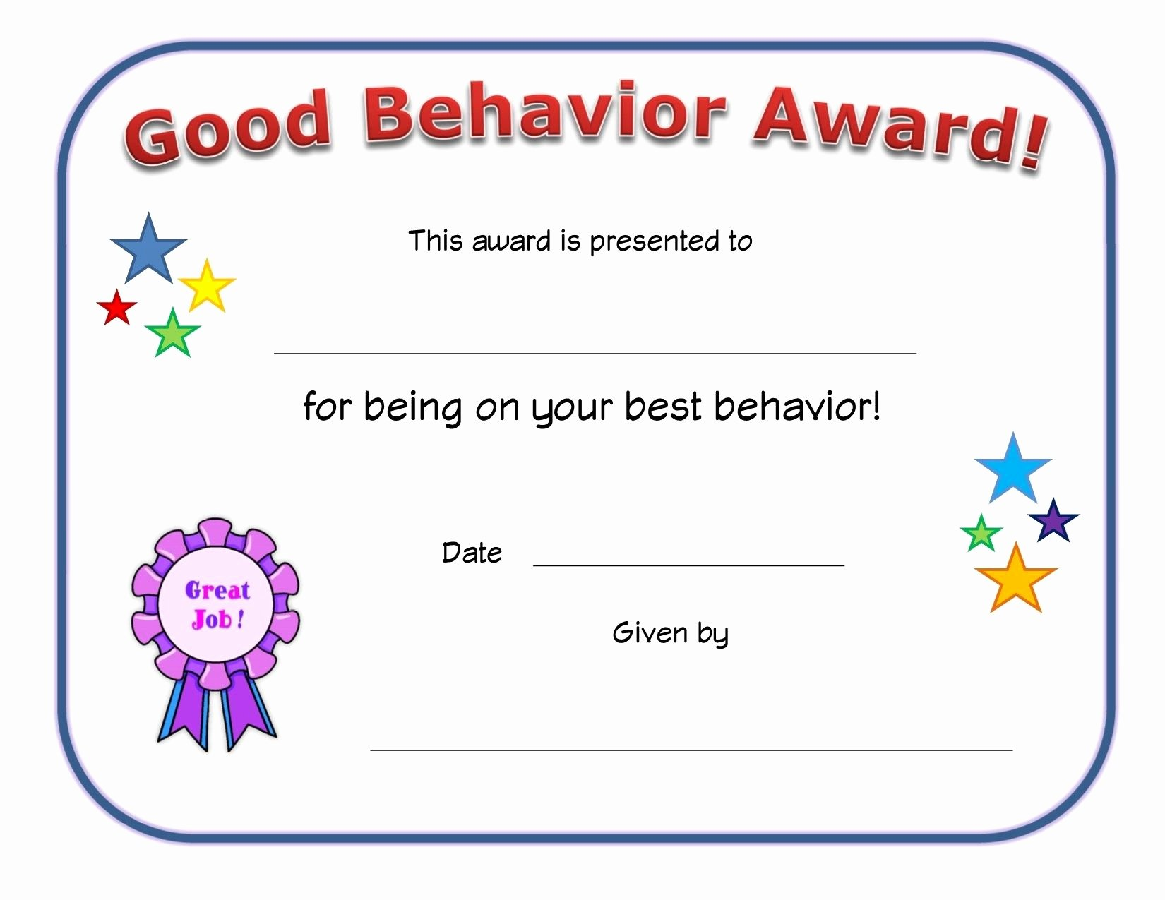 Most Improved Student Award Wording Lovely Good Behavior Award Certificate Jerlese