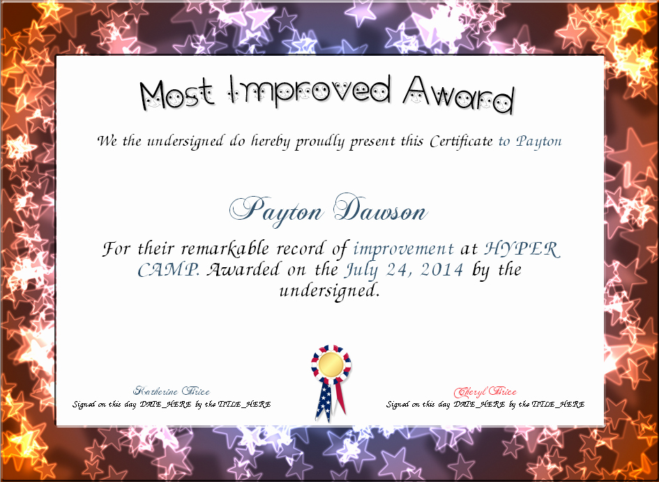 Most Improved Student Certificate Awesome Most Improved Award Certificate