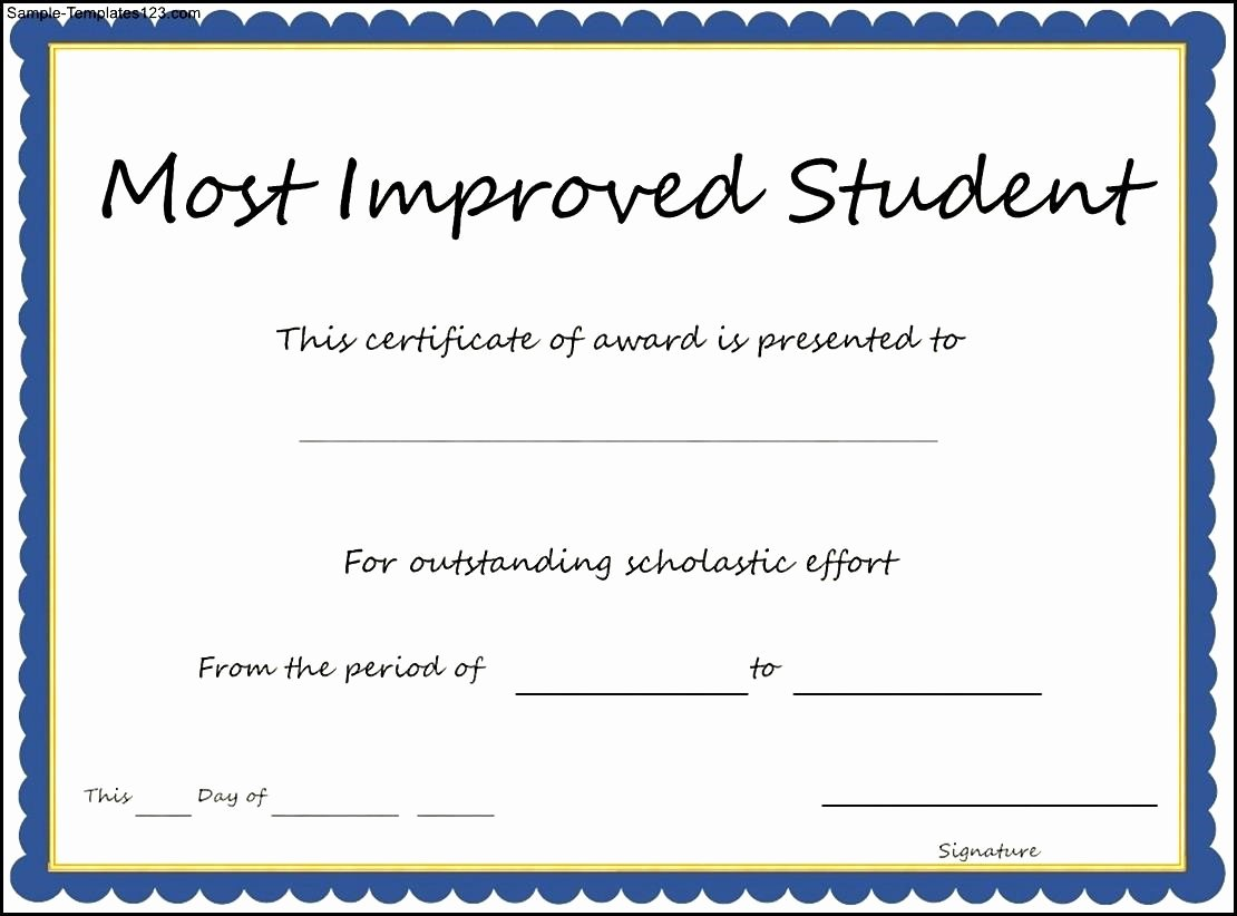Most Improved Student Certificate Awesome Most Improved Certificate Template Free