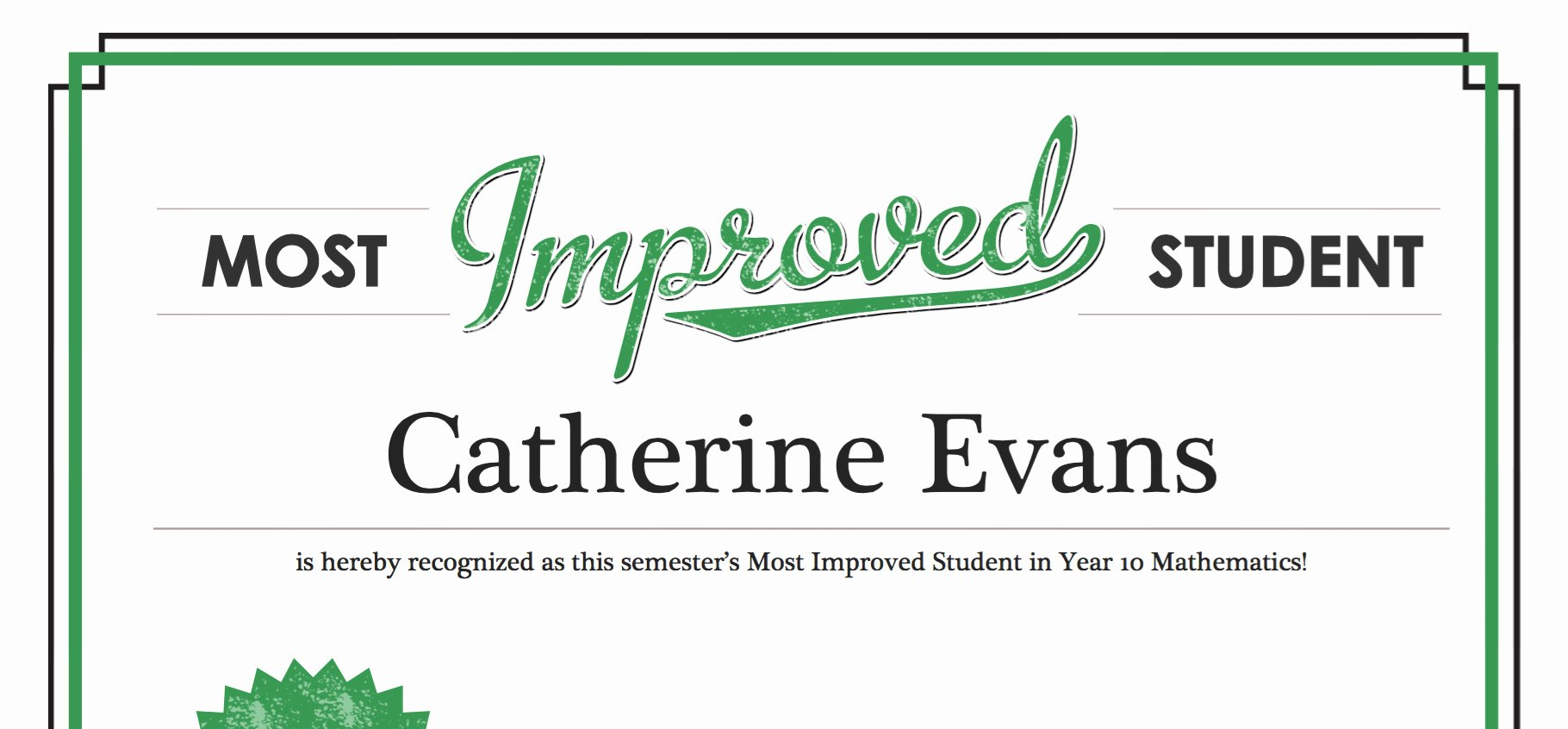 Most Improved Student Certificate Lovely 30 Most Improved Student Certificate