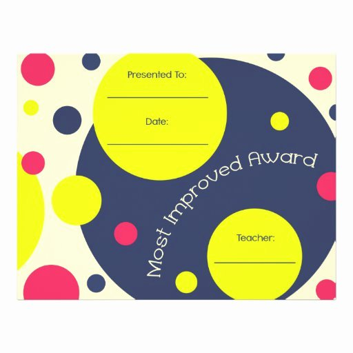 Most Improved Student Certificate Unique Most Improved Award Certificate Pink Yellow Blue