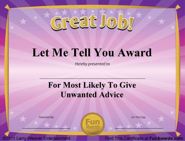 Most Likely to Award Template Awesome Gag Certificates Voice Team Stuff