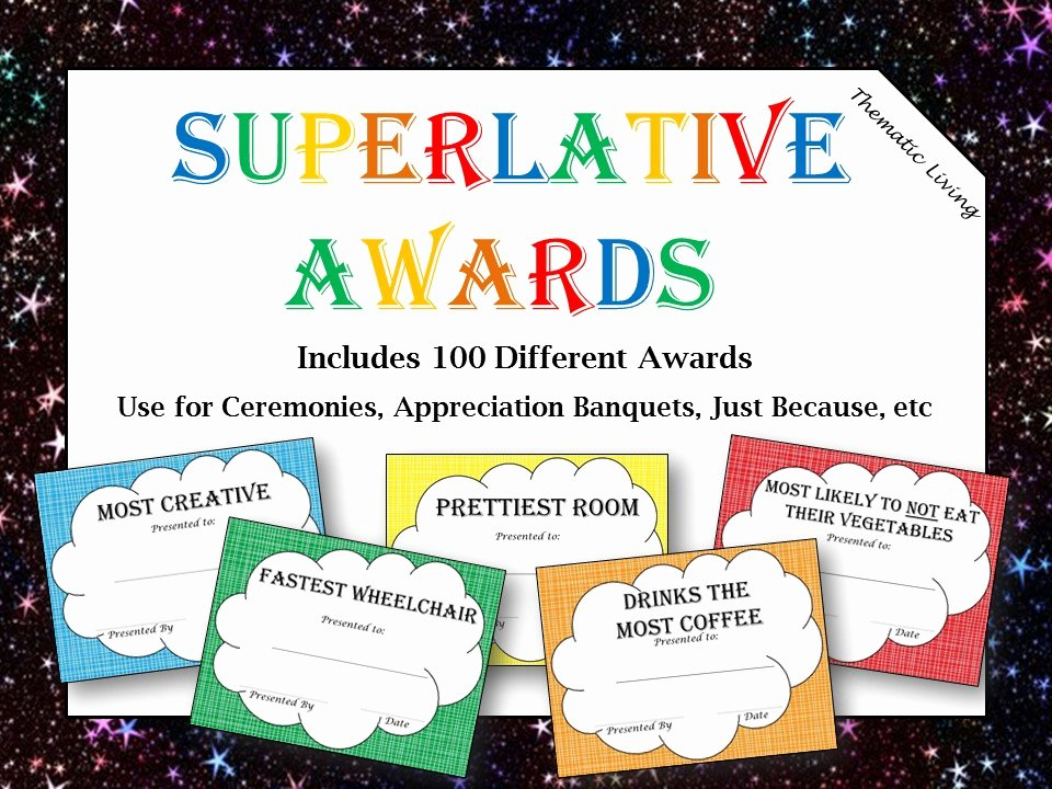 Most Likely to Award Template Best Of Superlative Awards for Adults