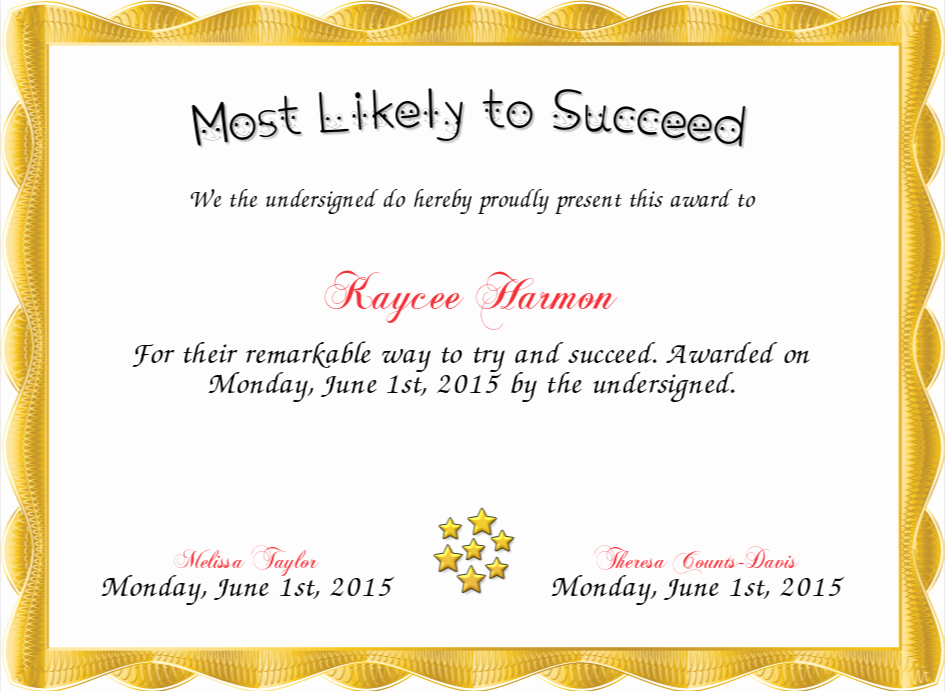 Most Likely to Award Template Elegant Most Likely to Succeed Certificate