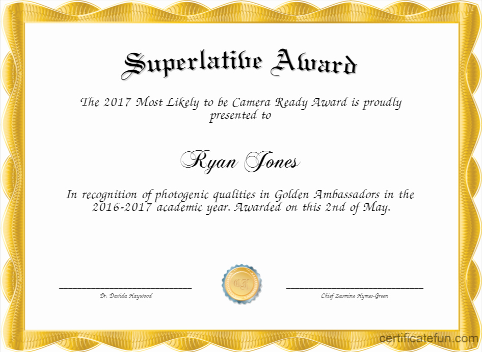 Most Likely to Award Template New Superlative