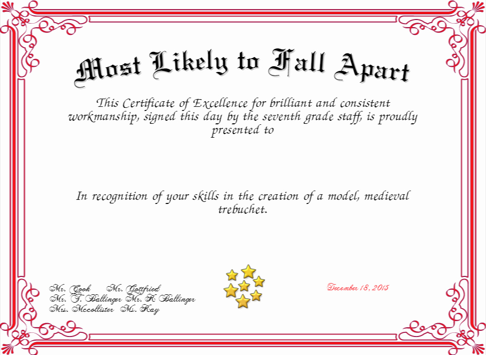 Most Likely to Certificate Lovely Most Likely to Fall Apart Certificate