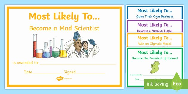 Most Likely to Certificate Template Awesome Most Likely to Award Templates