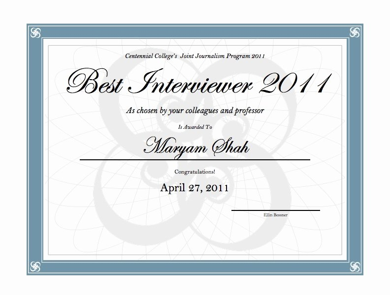 Most Likely to Certificate Template Beautiful Interviewing Awards Centennial Journalism bye bye East