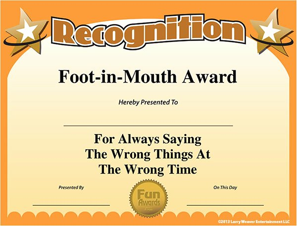 Most Likely to Certificate Template Elegant Foot In Mouth Award 91x Fm