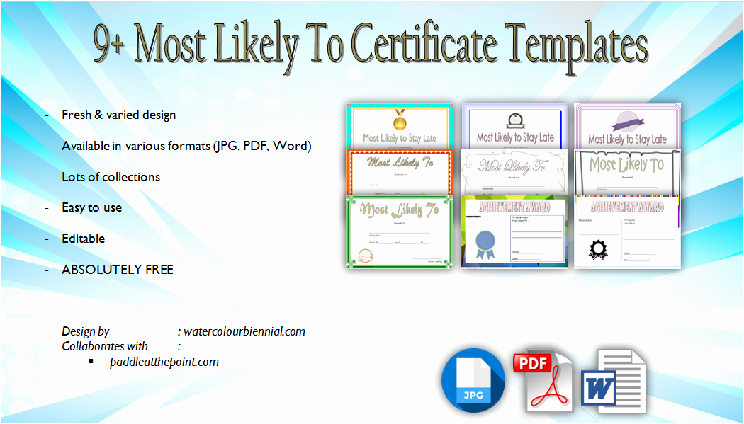 Most Likely to Certificates Beautiful Most Likely to Certificate Template [9 New Designs Free]
