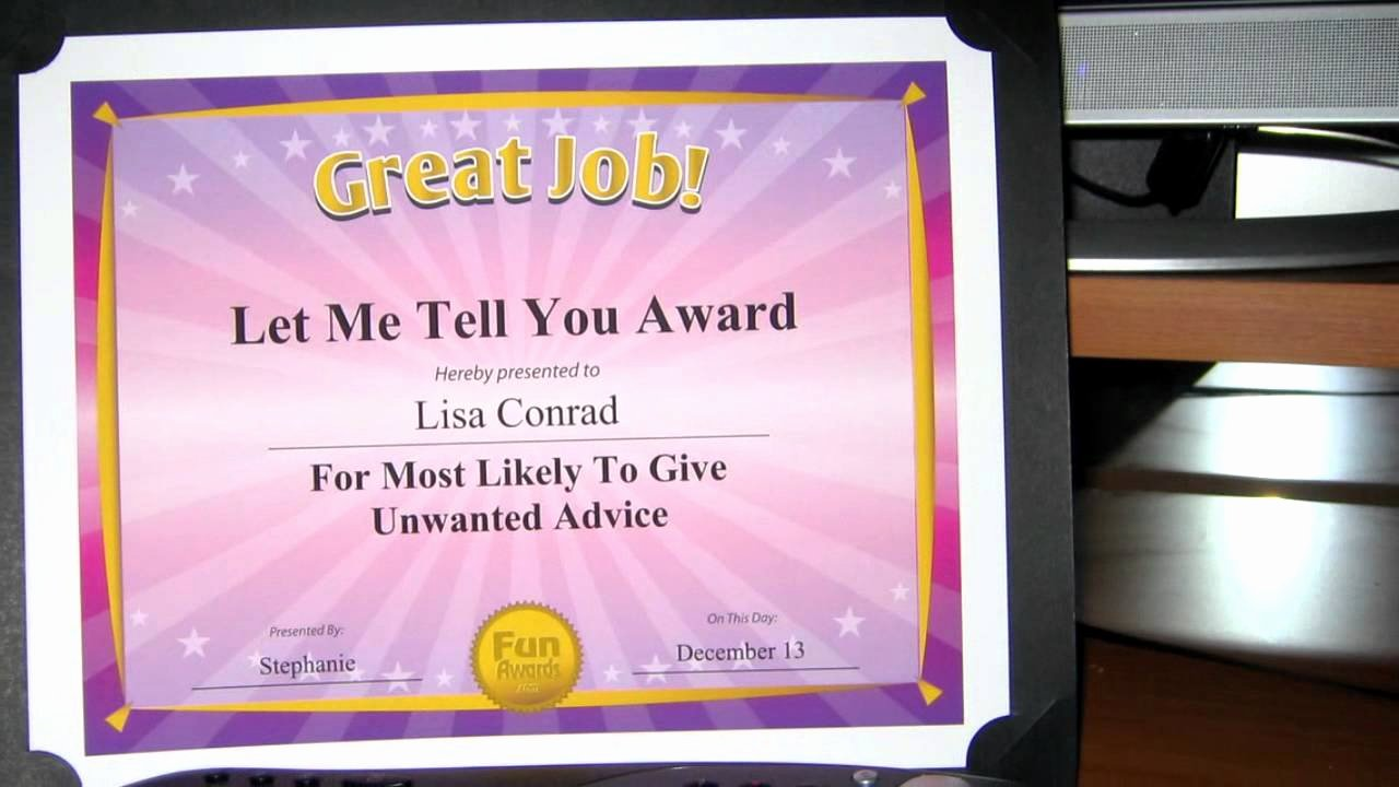 Most Likely to Certificates Best Of Funny Fice Awards