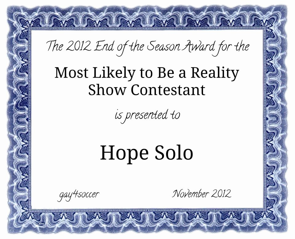 Most Likely to Certificates Inspirational the Most Likely to Be A Reality Show Contestant 2012 is
