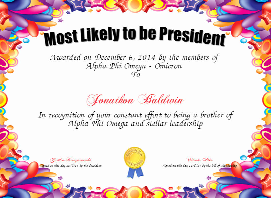 Most Likely to Certificates New Most Likely to Be President Certificate