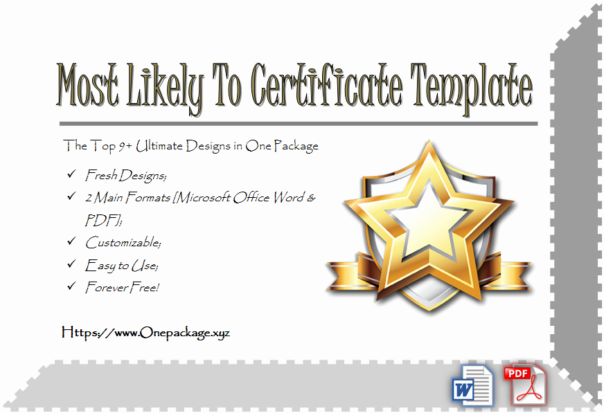 Most Likely to Certificates Unique Most Likely to Certificate Template top 9 Ultimate Ideas