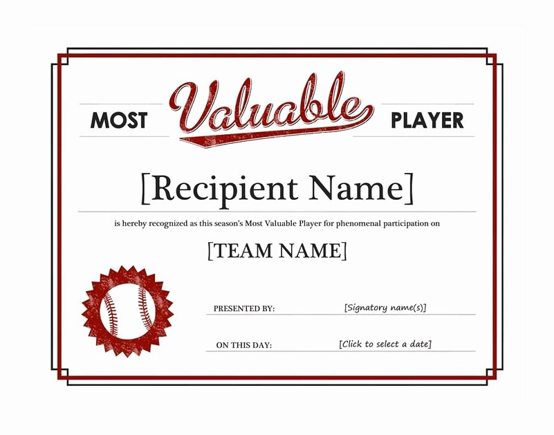Most Valuable Player Certificate Awesome 30 Most Valuable Player Certificates