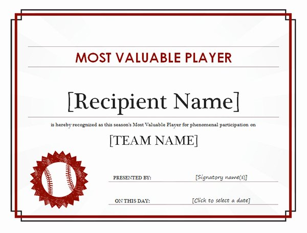 Most Valuable Player Certificate Awesome Printable Sports Certificates