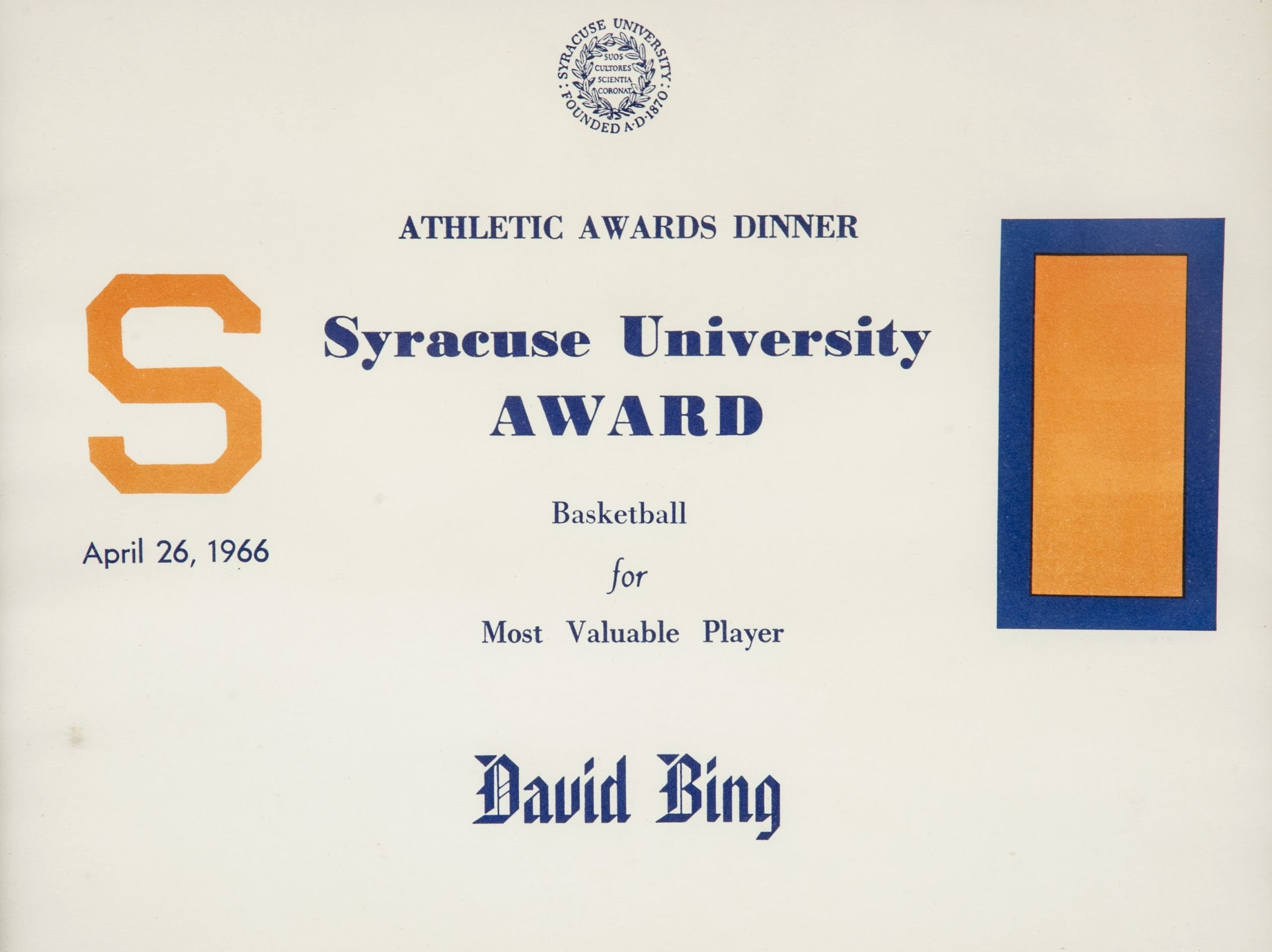 Most Valuable Player Certificate Inspirational Lot Detail Lot Of 2 Dave Bing Syracuse University