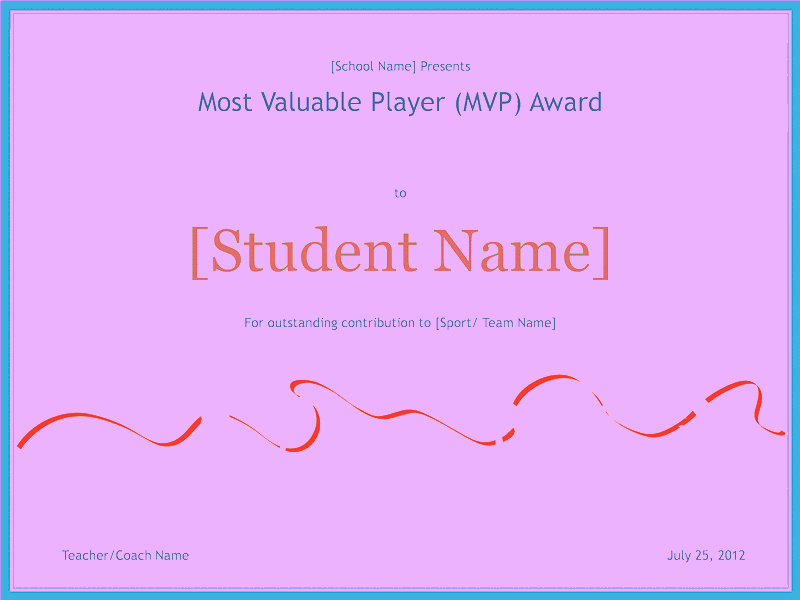 most valuable player awarding certificate 1122