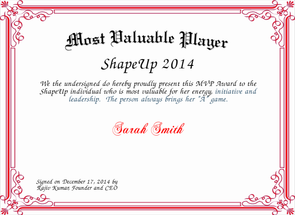 Most Valuable Player Certificate Inspirational Most Valuable Player Certificate