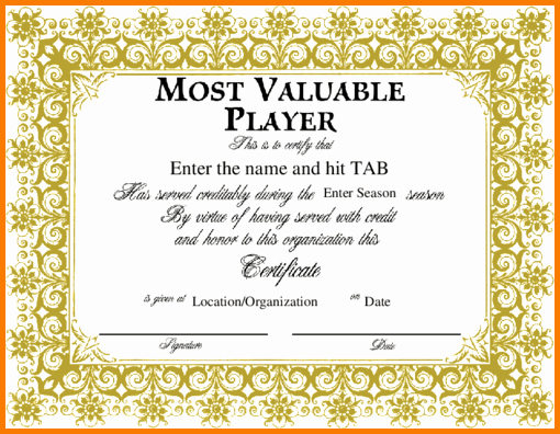 Most Valuable Player Certificate Inspirational Mvp Certificate