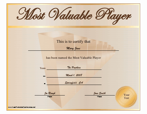 Most Valuable Player Certificate Lovely Most Valuable Player Certificate Printable Certificate