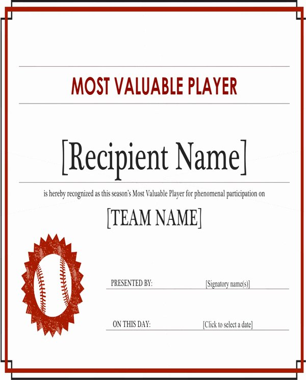 Most Valuable Player Certificate New 30 Most Valuable Player Certificate