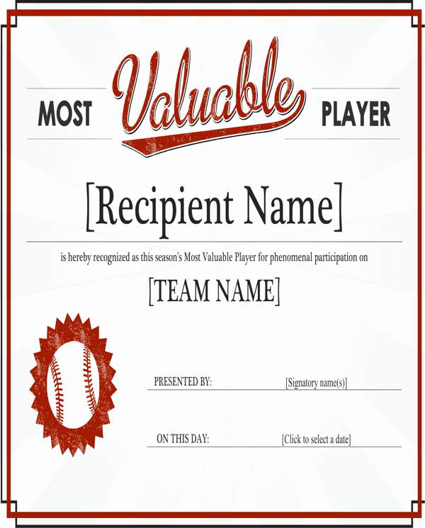 Most Valuable Player Certificates Beautiful Download Most Valuable Player Award Certificate for Free
