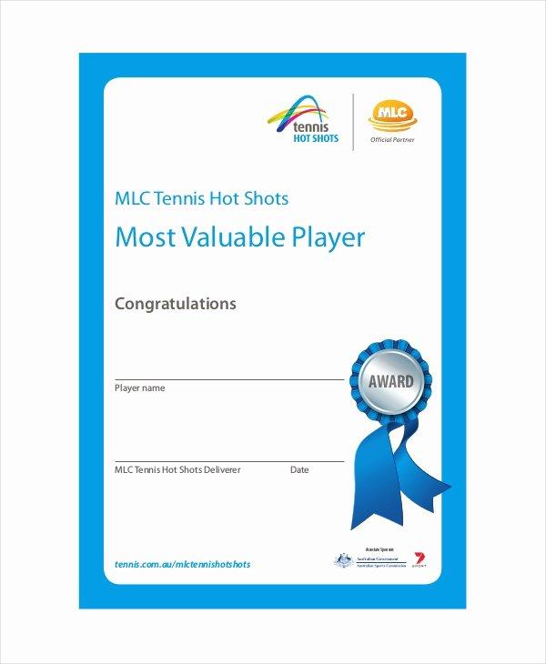 Most Valuable Player Certificates Elegant Sportsmanship Certificate Template 4 Free Word Pdf
