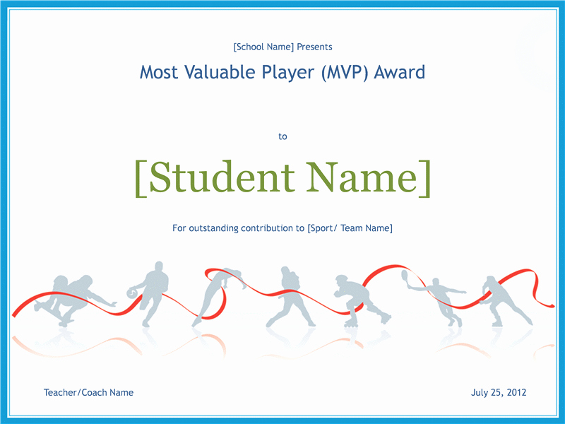 Most Valuable Player Certificates Inspirational Most Valuable Player Awarding Certificate Free