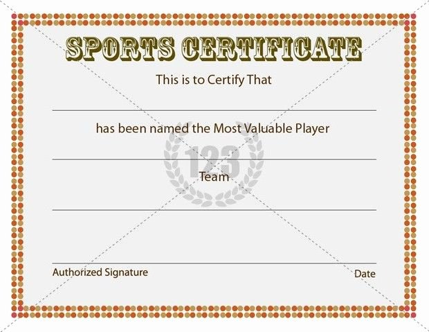 Most Valuable Player Certificates Lovely Sports Certificate Template