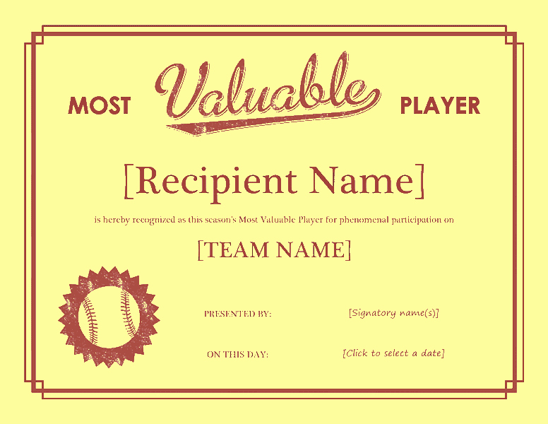 Most Valuable Player Certificates New Most Worthful Participant Awarding Certificate Free