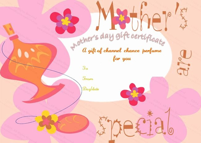 Mother Day Certificates to Print Beautiful Five Petals Mother S Day Gift Certificate Template