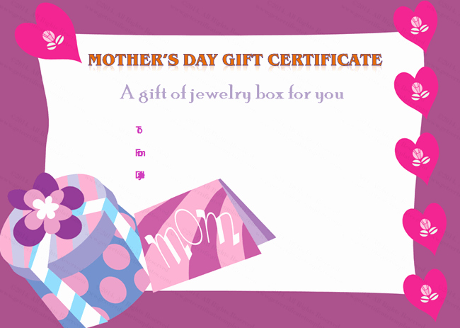 Mother Day Certificates to Print New Present Box Mother S Day Gift Certificate Template