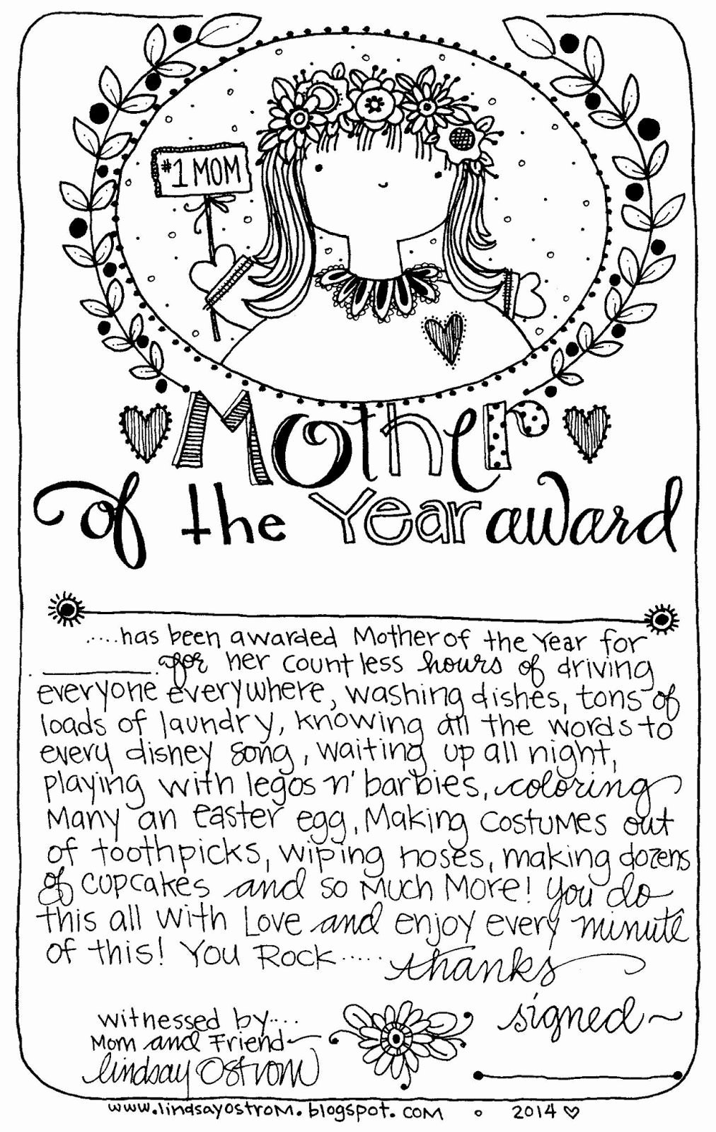 Mother Of the Year Certificate Inspirational Free Printable Mother Of the Year Award Use for A Mother