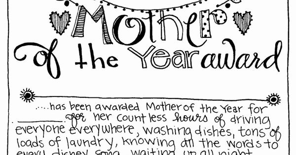 Mother Of the Year Certificate Luxury Free Printable Mother Of the Year Award Use for A Mother
