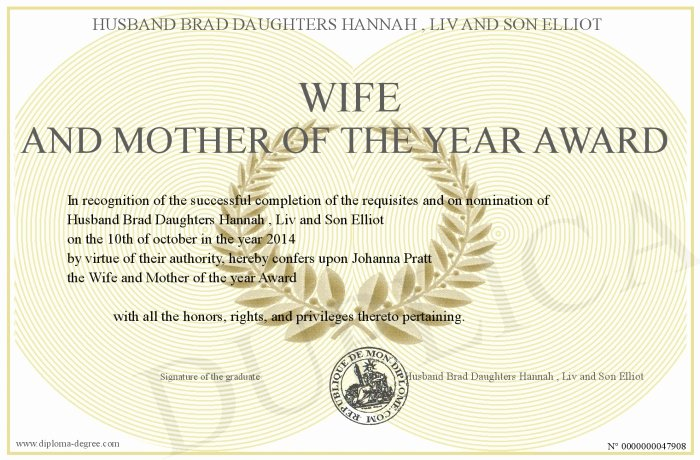 Mother Of the Year Certificate New Wife and Mother Of the Year Award