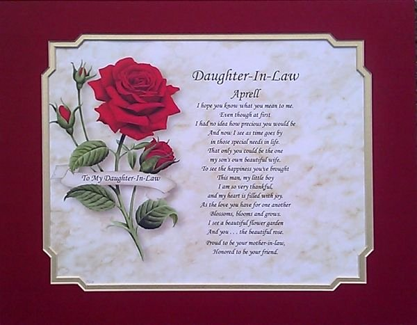 Mother's Day Certificates to Print Best Of Daughter In Law Personalized Poem Birthday Christmas