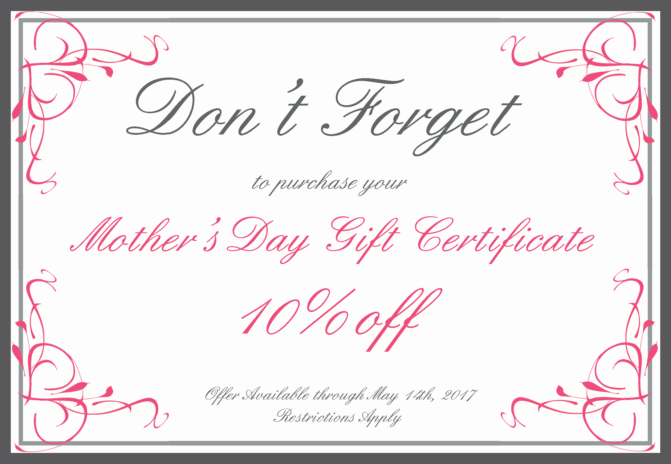 Mother's Day Gift Certificate Template Best Of News and Specials Brian Biesman Md