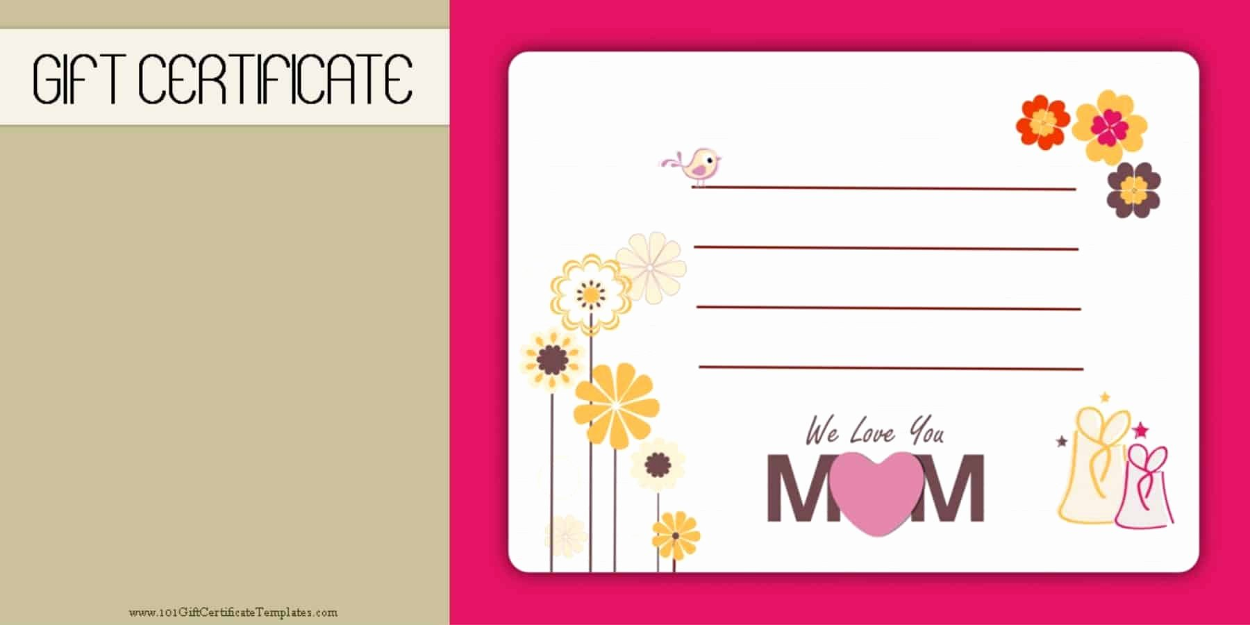 Mother's Day Gift Certificate Template Free Download Fresh Mother S Day Gift Certificate Templates