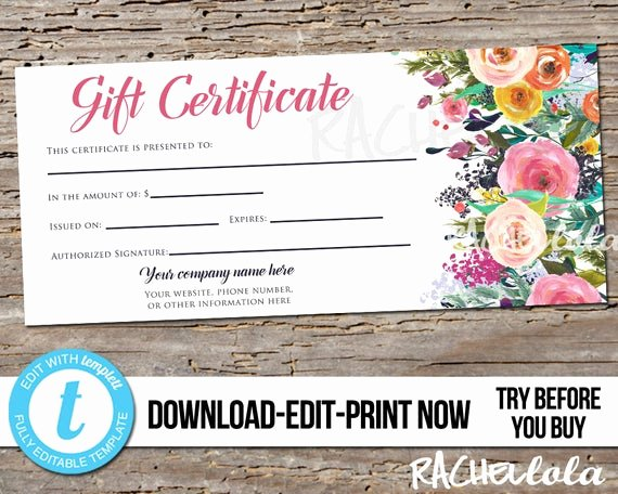 Mother's Day Gift Certificate Template Free Download Lovely Editable Custom Printable Gift Certificate Template