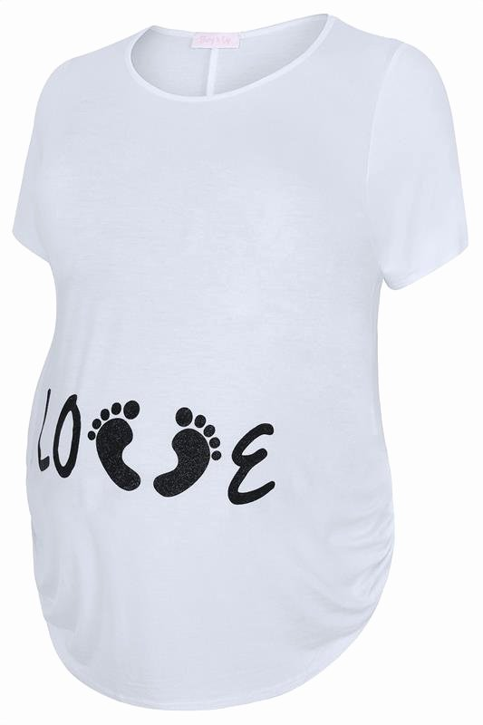 bump it up maternity white short sleeve top with black glitter love print p