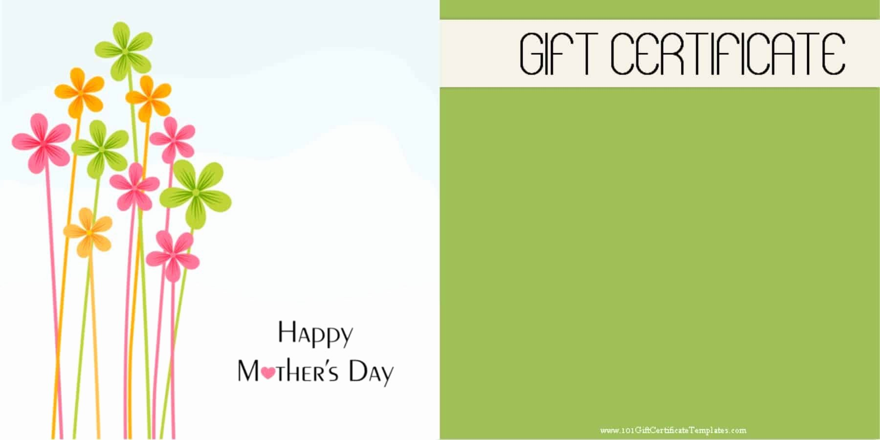 Mother's Day Gift Certificate Template Free Download New Mother S Day Gift Certificate Templates
