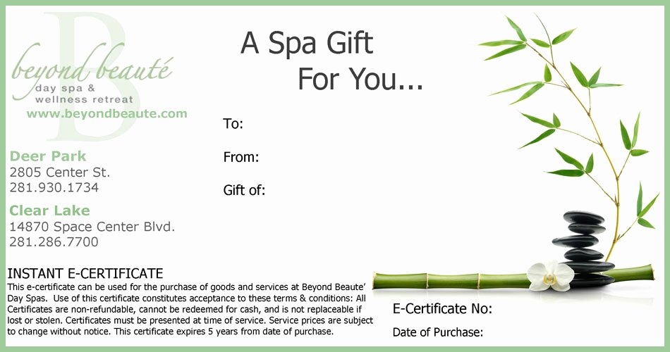 Mother's Day Gift Certificate Template Fresh Beyond Beauté T Card to Say Thank You to Celebrtae