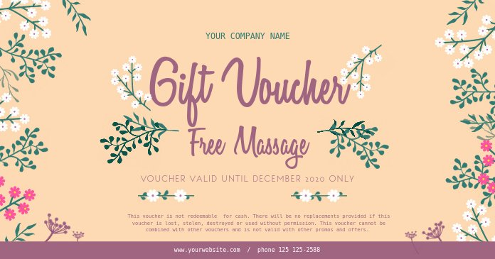Mother's Day Gift Certificate Template Fresh Floral Spa Gift Voucher Template