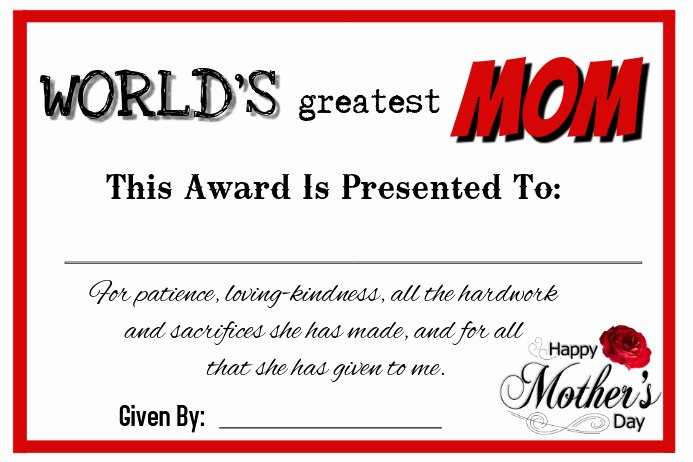 mother s day certificate poster template