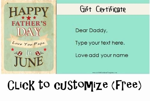 Mother's Day Gift Certificate Template Lovely Free Fathers Day Gift Certificates Father S Day