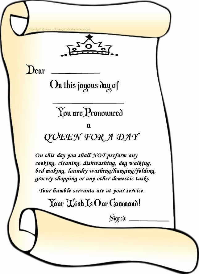 Mother's Day Gift Certificate Template Luxury Queen for A Day Ideas