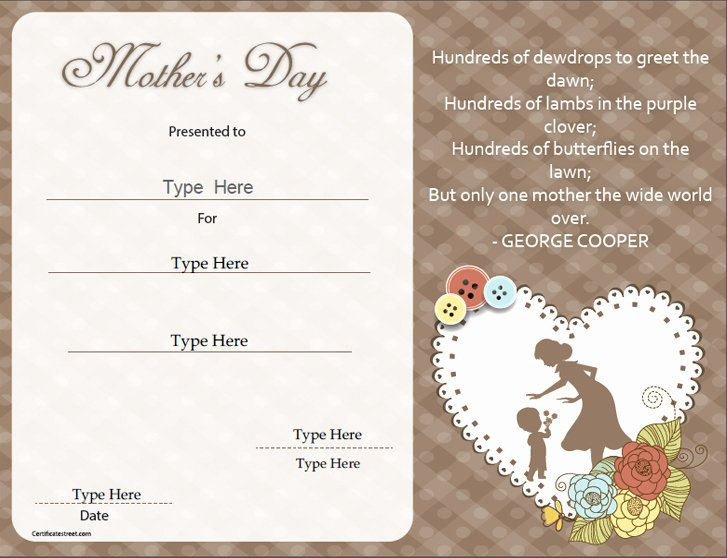 Mother's Day Gift Certificate Template New Special Certificates Mother S Day Special